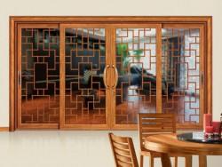 老赖不赖门窗中式复古雕花四扇推拉/吊趟门