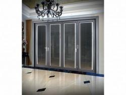 派雅折叠门手动百叶誉华灰色大折叠中空铝门