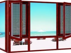 欧享门窗 纱窗一体门窗红色