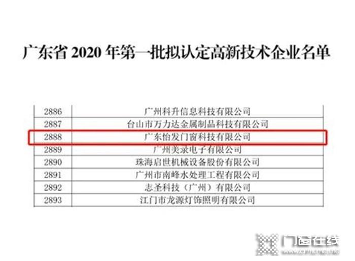 """重磅!怡发门窗再次获得广东省""""高新技术企业""""!"""