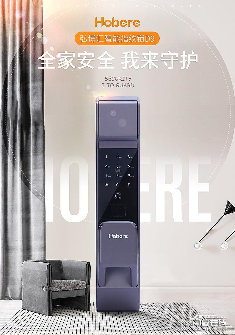弘博汇指纹锁 D9家用自动锁防盗门锁.jpg